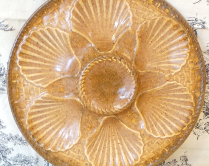 Oyster Plate Longwy Scollop Huitre Mussel Fish Plate Vintage French Super Condition Seafood Plate Shellfish Plate Oyster Plate