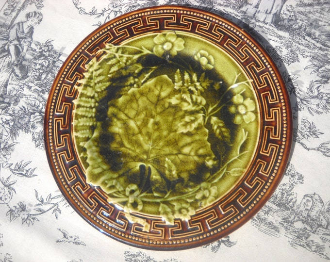 Antique French Plate Choisy le Roi Quality Majolica Plate Maiolica Barbotine 1800's Hand Decorated Plate Fully Marked Antique Earthenware