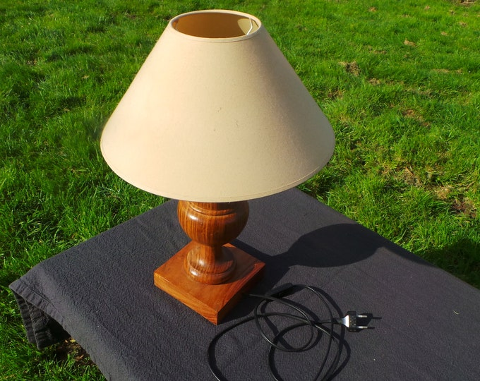 Table Light French Vintage Solid Wood Carved Table Lamp Base Quality Mid Century Modern Table Lamp All Working Condition Very Heavy