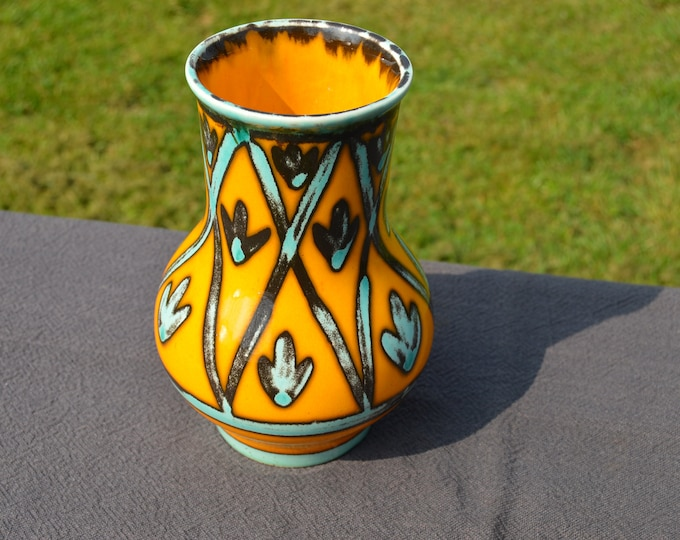 St Clements 1960's Hand Decorated Vase Made in France Ceramic St Clements Fully Marked Perfect Condition Abstract Art Pottery Vase