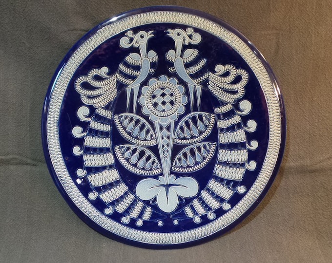 Stoneware Platter German Pottery Big Plate Fully Marked Marzi and Remy of Westerwald Made Germany Robust Stoneware Blue Hand Made