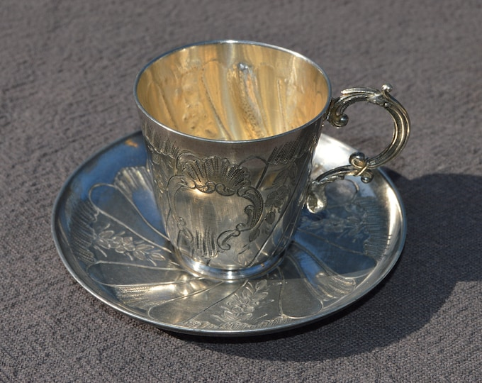 Cup and Saucer Vintage French Silver Plate Small Decorated Christening Religious Cup Baby Shower Gift Christening Baptism Confirmation Gift