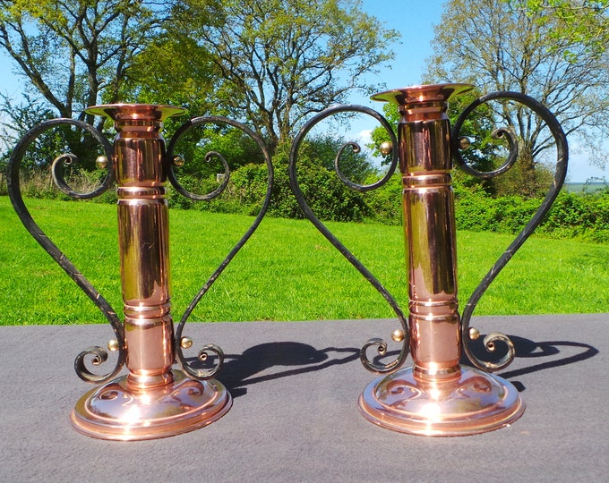 French Candle Sticks Superb Vintage French Copper Arts and Crafts Mission Handicrafts Pair Candle Sticks Artisan Made Candle Holders