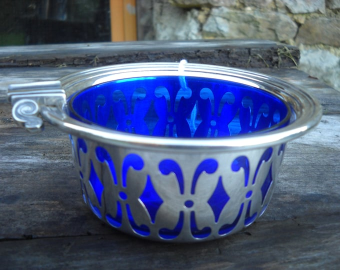French Vintage Silver Coloured Pierced Bon Bon Dish, Salt Pot, Ash Tray, Mustard Pot with Makers Mark and Bristol Blue Glass Liner