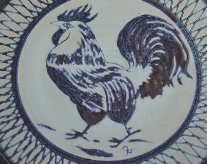 Domjean Pottery Manche Normandy Hand Made Studio Pottery Plate Fully Signed Fabulous Condition French Cockerel Motif 1970s Decorative Modern