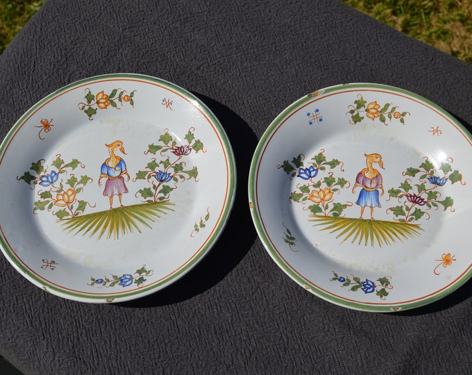 Two Malicorne - Emile Tessier Decorative Plates Beautiful Polychrome, Crazed, Discoloured, Chipped Fully Marked  E T, 'Moustiers'