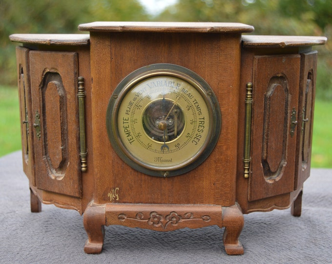 Barometer Functioning Wooden Buffet or Commode Hand Made and Signed Little Cupboard Barometer