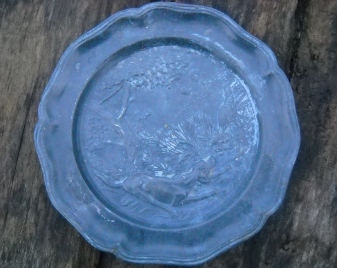 Fine French Pewter Plate - Country Scene - Lovely Heavy Old Pewter Decorative Plate