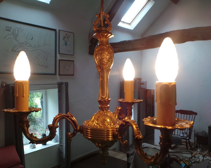 Bronze Vintage French Chandelier 3 Arm Light Fittings Pendant Light Ormolu Chateau Chic Chandelier Real Quality French Empire