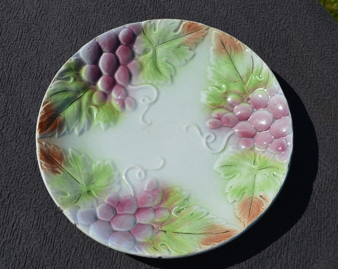 Antique French Majolica Fruit Plate Onnaing 1894 - 1938 Fully Marked Decorative French Faience Beautiful Autumn Decor Grape Fruit Plate