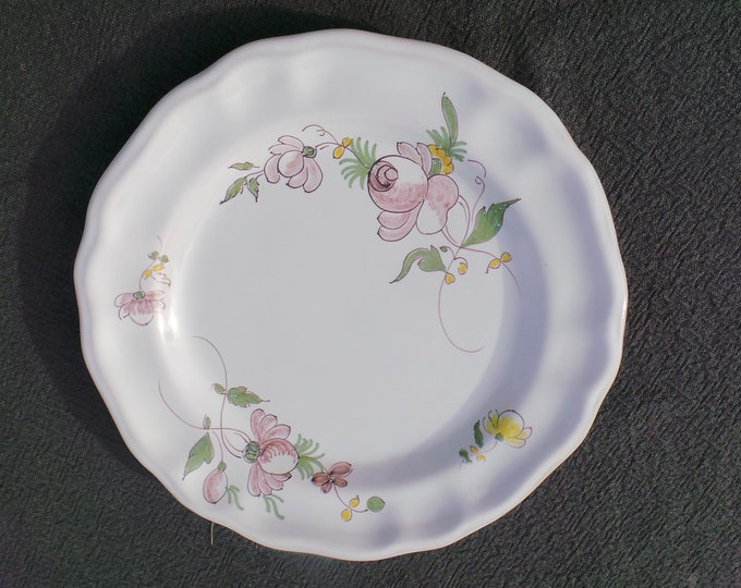 Vintage French Samadet Landes Signed Plate French Flower Pattern Mid 20th Century French Faience Signed Ancient Manufacturing Plate