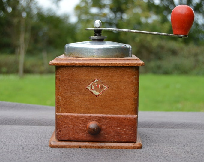 Vintage French LMP Coffee Grinder Metal Handle Attachments Red Knob Fully Working Moulin à Café Polished Some Rust Coffee Bean Mill