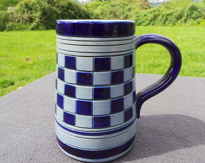 Alsace Pottery Stein Fully Marked Betchdorf of Alsace Made by Hand Fait Main Gris D'Alsace Robust Stoneware Vintage Gray and Blue Tankard