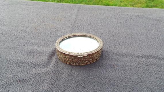 Bronze Mirrored Box Plush Velvet Interior Worn Mirror Losses Marked France Cast Metal Missing Ormalu Fabulous Jewelery Box Ring Box
