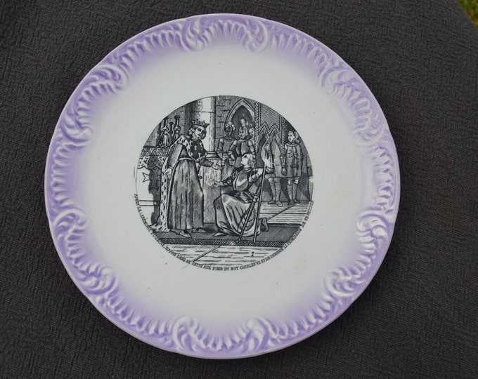 Sarreguemines Joan of Arc Plate Digoin France Transfer Printed Story Jeanne D'Arc 1875-1899 Plate French Ceramics Pottery China Faience 5045