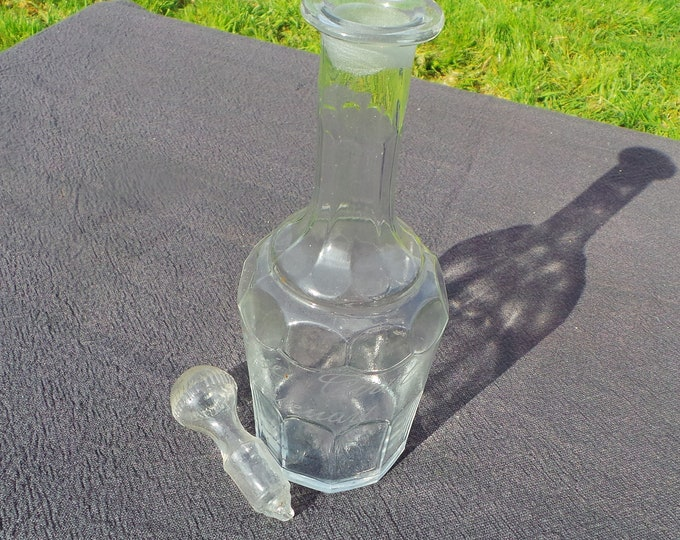 French Glass Decanter Antique Georgian Style Hand Engraved Glass Wine Carafe Flask Jug Container Pitcher Good Condition French Made