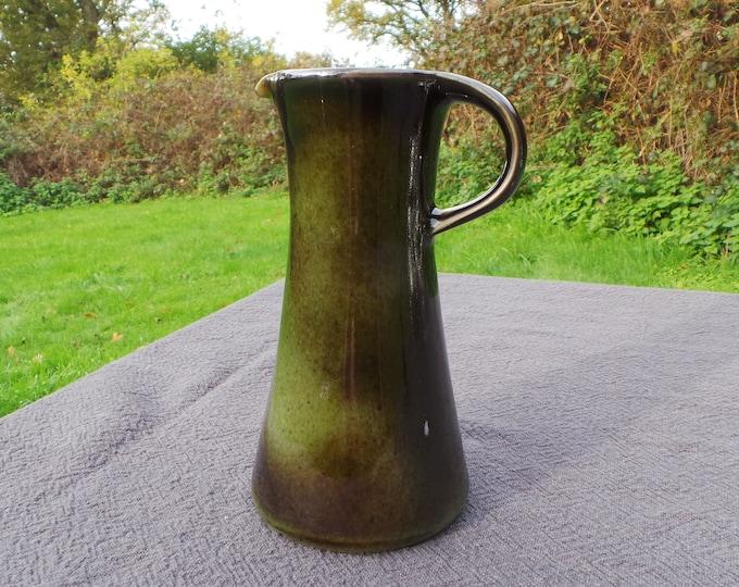 Lot Pottery Modern Design Vintage French Ceramic Majolica or 'Barbotine' Posy Wine Pitcher or Wine Jug  Marked Porcelain Du Lot France