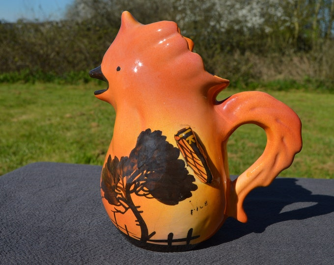 Vintage French Nice South of France Chicken Jug Water Pitcher Water Pitcher Chcken Shape with Afixed Cicada Vallauris Style