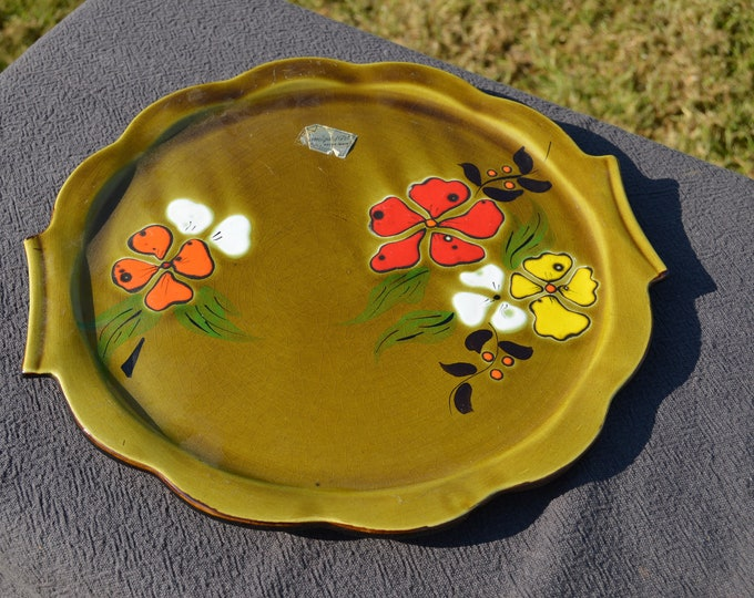 Vintage French Poet Laval of Provence Serving Plate Fully Marked + Sticker- Barbotine or Majolica Fruit or Cheese Plate