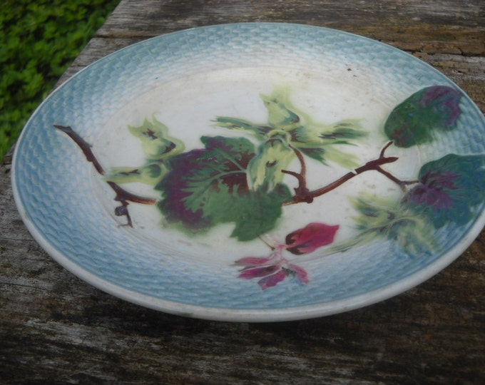 Antique French Majolica Fruit Plate St Amand 1896 - 1952 Fully Marked Decorative French Barbotine Beautiful Autumn Decor Basketweave Edge