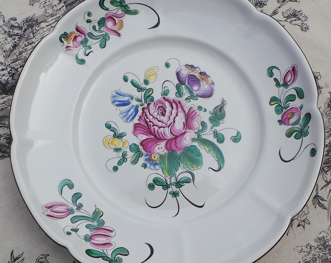 French Plate 1920's Ceramic Vintage French Boulogne sur Mer Desvres Signed Large Plate Strasbourg Pattern Hand Painted Henri Chaumeil
