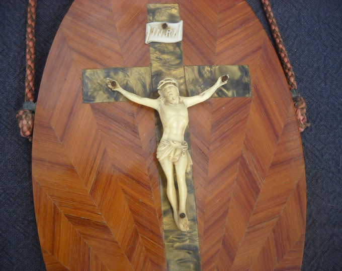 Vintage French Wooden Inlay Plaque with Crucifix Authentic Hand Made Devotional Ivorine/Celluoid Body Rope Hanger Wooden/Bakelite Inlay