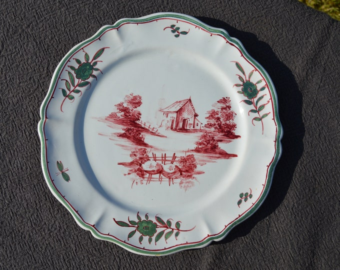 Vintage French Malicorne Emile Tessier Signed Large Plate French Chinoisery Mid 20th Century French Faience Signed