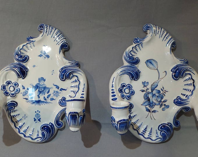 French Candle Sticks Pair Pottery Vintage French Ceramic Candelabra Two Blue and White Candlestick Holders Emille Tessier Malicorne
