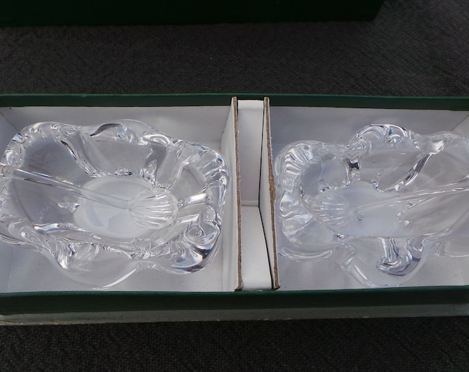 Daum Boxed Pair Salts with Crystal Spoons Crystal Serving Set French Daum Glass Salt Servers Saliere with Tiny Spoons Salerons