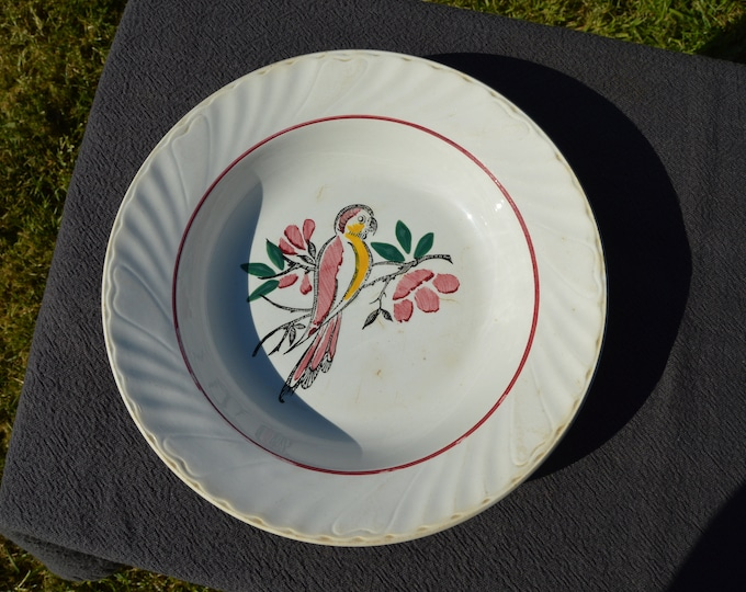 Antique French Ceranord St Amand 1908- 1932 Fully Marked Decorative French Hand Painted Parrot Dish Plate Ceramic Faience Worn