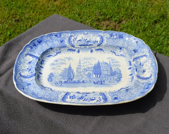 Bordeaux Early French Faience China Porcelain Ceramic Platter Meat Plate Transfer Printed 1845 Blue White Fully Marked Early Johnstone RARE