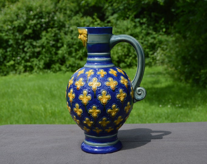 Minton Jug Fully Marked Pattern Number 596 Majolica Marked Barbotine Authentic Majolica Stoneware Pitcher English 1862-1872 19th Century