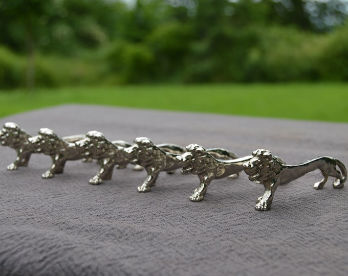Six Lion Knife Rests Vintage French Plated Great Gift for An Animal Lover Six Knife Rests Cast Lions Six Heavy Plated Lion Knife Rests