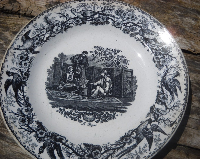 Plate Creil Montereau Oriental Early French Transfer Printed Plate early 19th Century With Motto Creil  Montereau Oriental Black and White