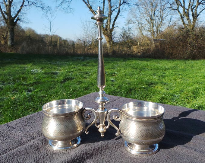 Silver Plate Gombault Declercs Cruet Server Pair Bowls Condiment Confiture Creamer 1877-1888 Two Bowl Acquired by Christofle Fully Marked