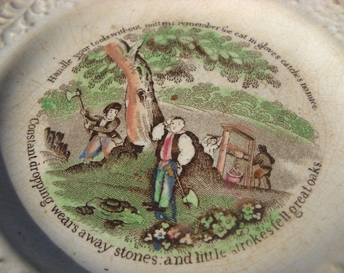 Early English Transfer Printed Plate Early 19th Century With Mottos and Hand Colored Picture Cream Ware Creamware Staffordshire Pottery