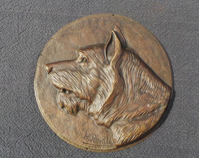 Dog Plaque Bronze Terrier Signed H Petrilly Dog Wall Art Cairn Scottie Terrier Cast Bronze Plaque