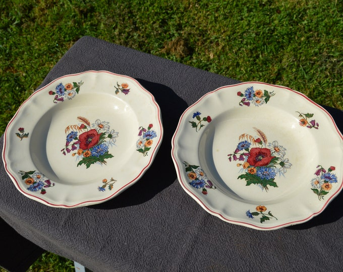 Vintage French Two Bowls Sarreguemines 1950's Agreste Pattern - Beautiful Poppies - Vintage Plates Two Bowls