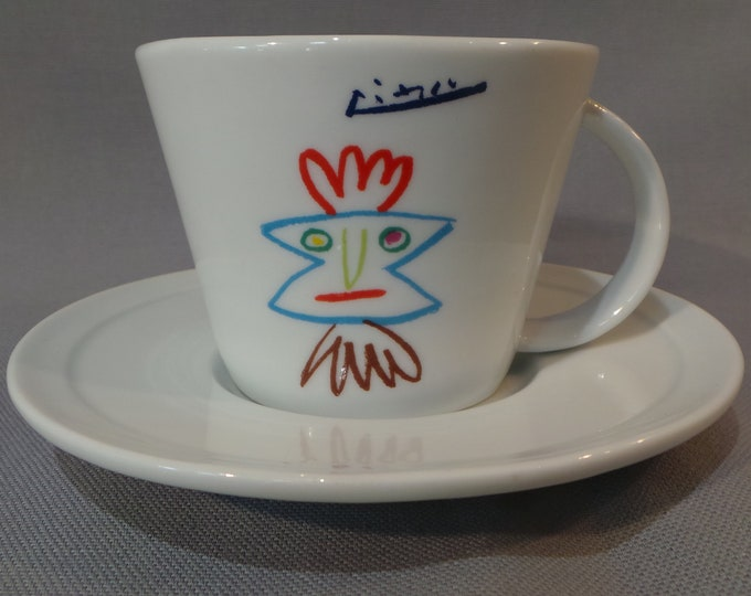 Picasso Cup and Saucer Fully Signed Picasso Made Under License by MMI Tognana Priam, Pour Helene ou Hector 1961 ©Succession Picasso Paris