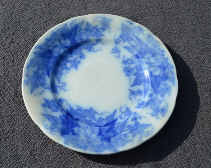 Blue and White U & C Rare Early French Transfer Printed Plate Flow Blue Faience Pottery China Bryonia 19th Century Decorative Plate
