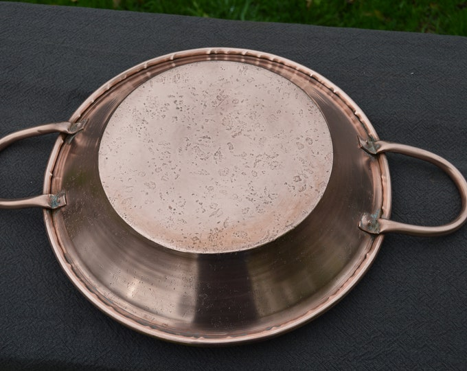 Gratin Oven Dish Tourtiere Antique French Copper Big Round Oven Dish Old Tin Antique Pan Good  Handles Good Looker