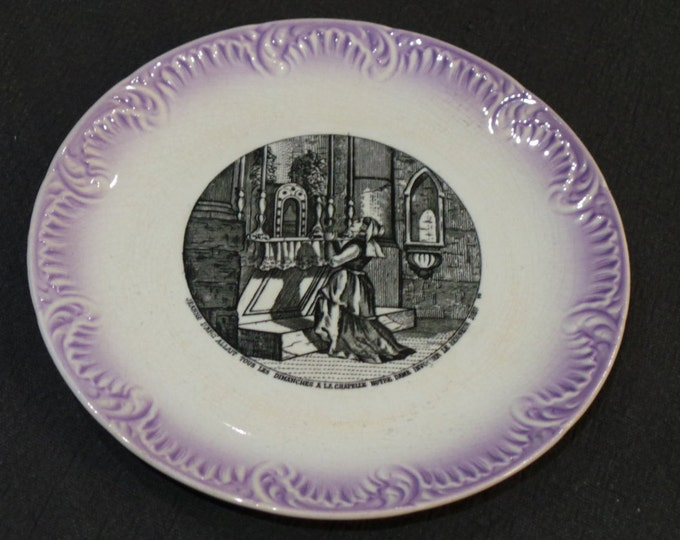 Sarreguemines Joan of Arc Plate Digoin France Transfer Printed Story Jeanne D'Arc 1875-1899 Plate French Ceramics Pottery China Faience 5044