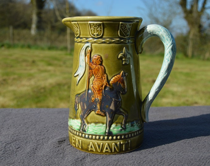 French Majolica Pitcher Joan of Arc Jeanne D'Arc Antique Five Lille French Majolica Marked Barbotine Authentic Majolica Jug Rare, Beautiful