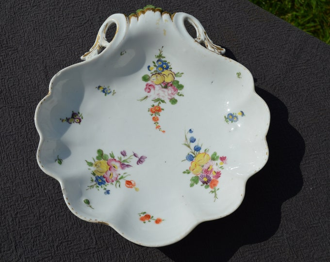 Antique French Paris Porcelain Bowl 19th Century Hand Made Decorated Flower Design Bowl Center Piece Marked Worn Gilding French Faience