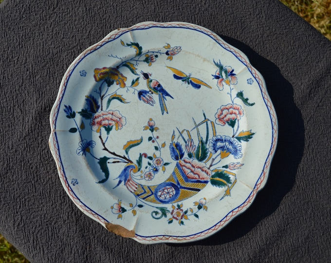 Gien Early French Faience China Tin Glazed Ceramic Hand Painted Plate 1870s Cornucopia Horn of Plenty Design Fully Marked Authentic