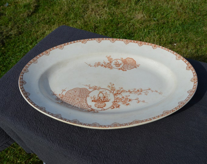 Serving Plate Longwy Early French Faience China Porcelain Ceramic Terre de Fer Transfer Printed Plate 1800s Kioto Design Marked Authentic