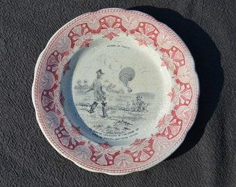 Antique Plate Voyages En Ballon CREIL MONTEREAU French Decorative Balloon Trips Transfer Printed Plate 19th Century - Marked Creil Montereau