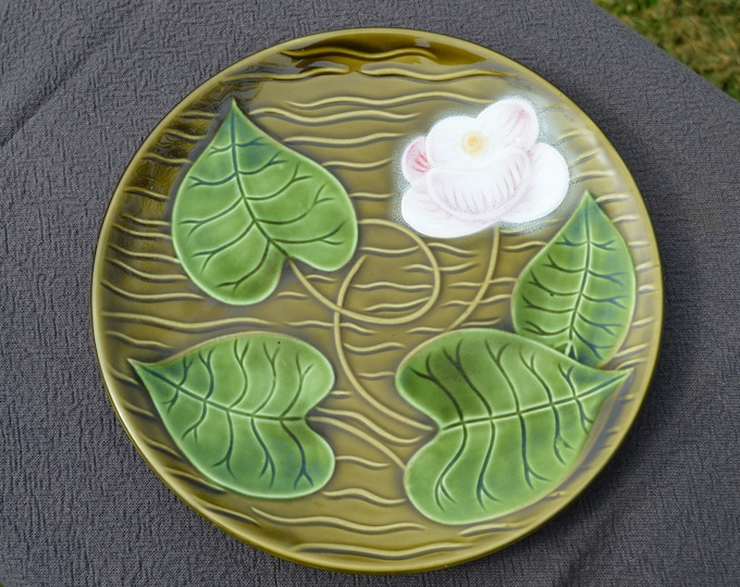 Antique French Sarreguemines 1920 - 1950 Fully Marked Decorative French Barbotine Beautiful Decor Flower Plate Water Lilly