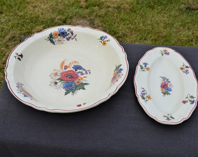 Vintage French Large Round Salad Fruit Bowl Plate Sarreguemines 1950's Agreste Pattern - Beautiful Poppies and Flowers