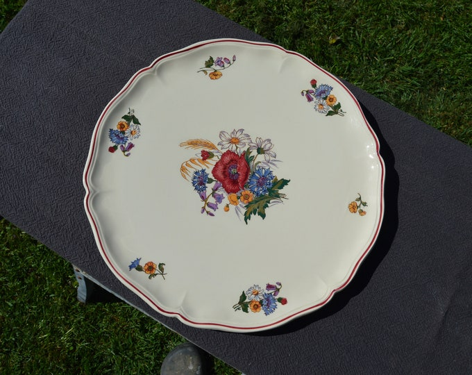 Vintage French Large Round Flat Platter Sarreguemines 1950's Agreste Pattern - Beautiful Poppies and Flowers
